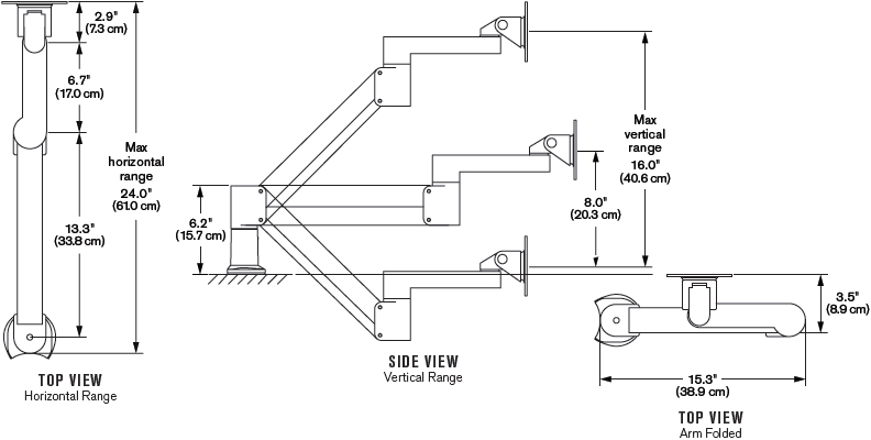 Technical Drawing for Ergotech 7Flex-HD-ETUS-104 7Flex HD LCD Monitor Arm