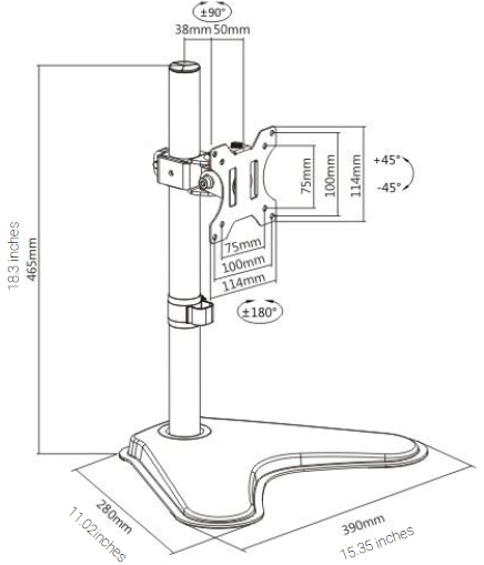 Technical drawing for Ergotech Single Monitor Desk Stand - DMRS-1