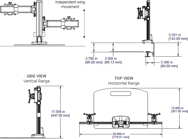 Technical drawing for Ergotech Dual Monitor Horizontal Desk Stand