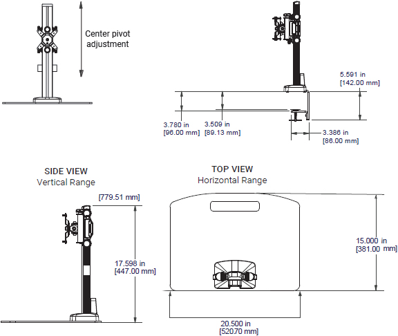 Technical drawing for Ergotech Single Monitor Desk Stand
