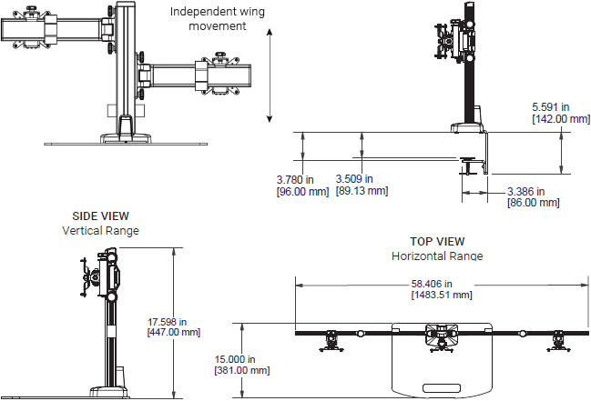 Technical drawing for Ergotech Triple Monitor Horizontal Desk Stand