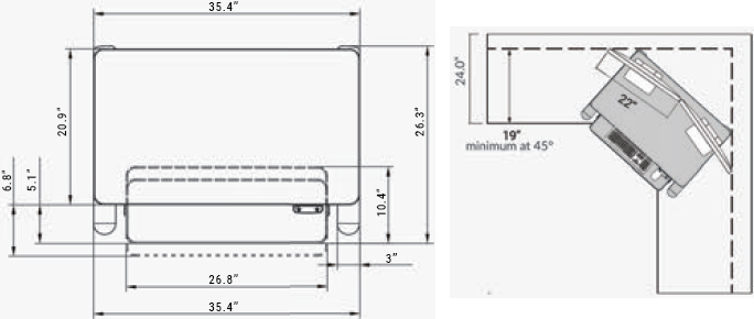 Technical drawing for Ergotech Freedom E-Desk Electric 36