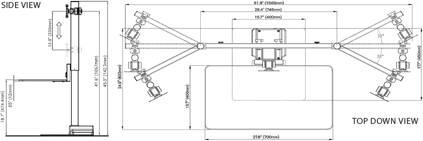 Technical drawing for Ergotech Triple Freedom E-Stand Sit-Stand Desk - FDM-E-STAND-3
