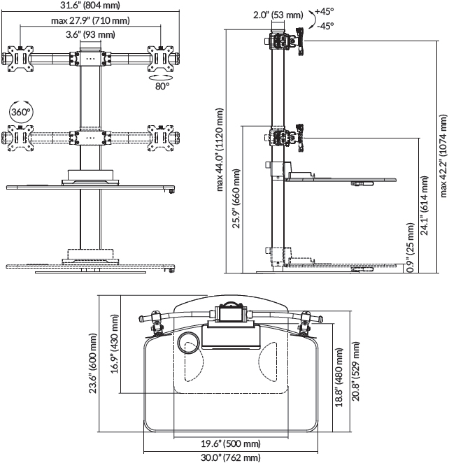 Technical Drawing for Ergotech FDM-STAND-2 Dual Freedom Sit-Stand Desk Workstation