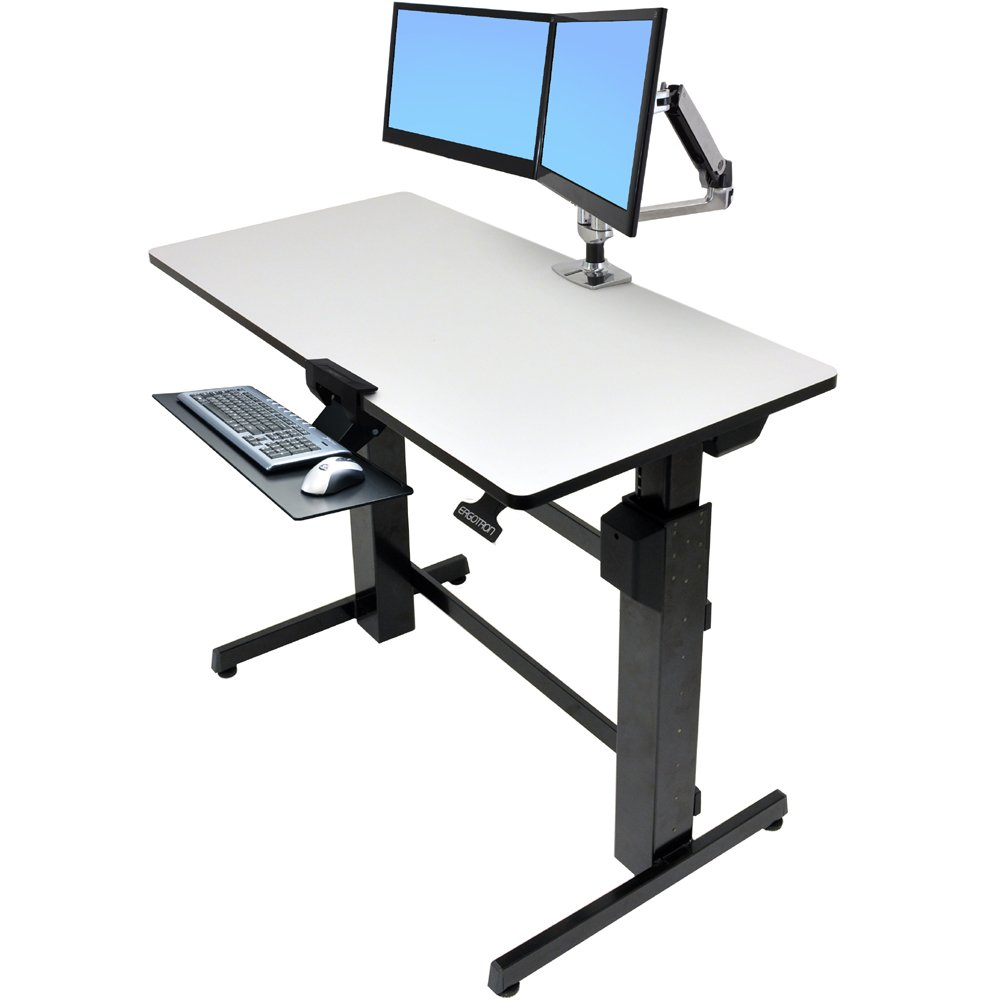 Ergotron 24 271 926 WorkFit D, Sit Stand Desk. Technical Drawing. Shown  With Accessories (purchase Separately)