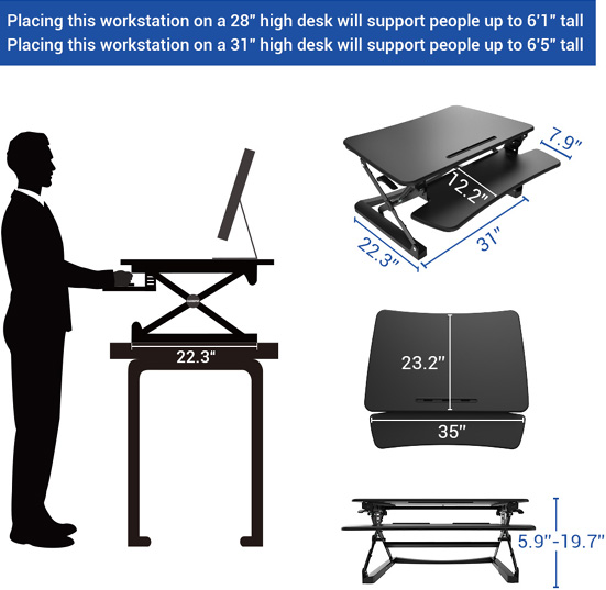 Technical drawing for  Flexispot M2 Height Adjustable Sit-Stand 35