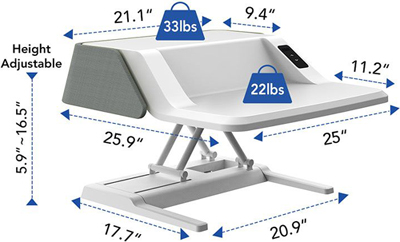 Technical Drawing for Flexispot EM6S Electric Stylish Sit-Stand Smart Workstation