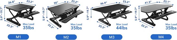 Technical Drawing for Flexispot M1/M2/M3/M4 ClassicRiser Standing Desk Converter