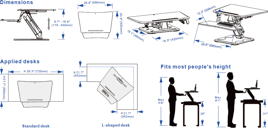 Technical Drawing for Flexispot CompactRiser Standing Desk Converter M5