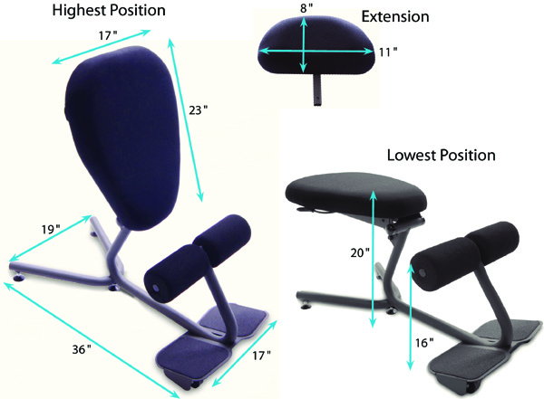 Technical Drawing for HealthPostures 5050 Stance Move EXT Ergonomic Office Chair
