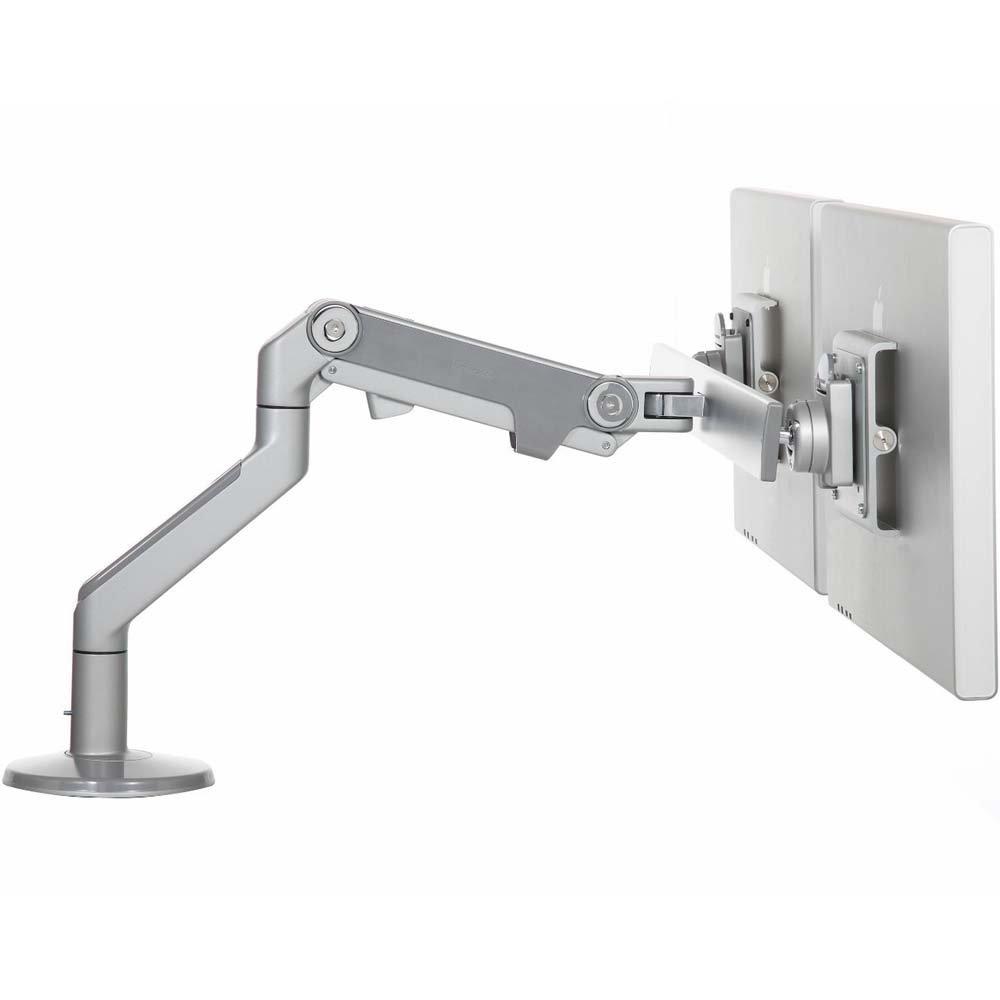 HumanScale M8 Dual Monitor Arm w//Crossbar Silver Desk Clamp