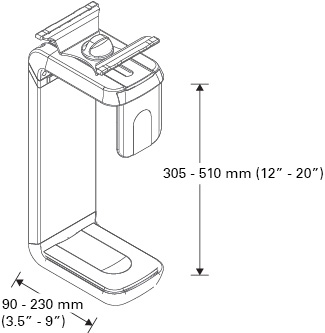 Technical drawing for Humanscale CPU600 Under Desk Mount CPU Holder
