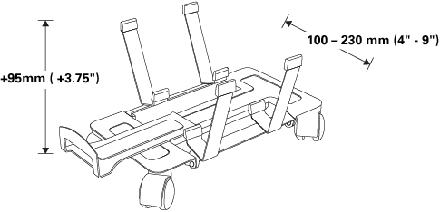Technical drawing for Humanscale CPUDLY Movable CPU Dolly