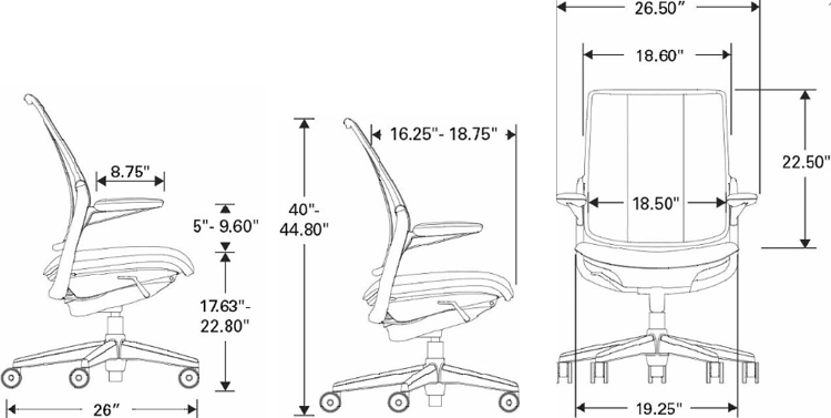 Technical Drawing for Humanscale Diffrient Smart Ergonomic Mesh Task Chair