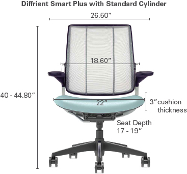 Technical Drawing for Humanscale Diffrient Smart Plus Ergonomic Mesh Back Office Chair