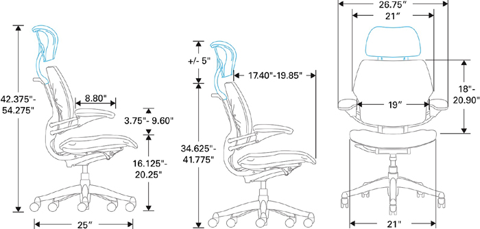 Technical Drawing for Humanscale Freedom Chair