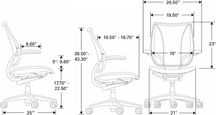 Technical Drawing for Humanscale Liberty Task Ergonomic Chair