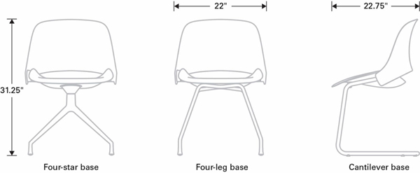 Technical Drawing for Humanscale Trea Versatile Sophisticated Ergonomic Chair