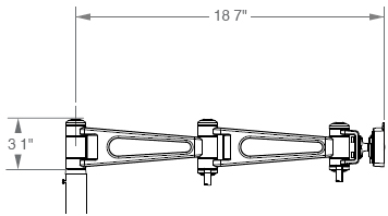"M7 Non-Adjustable Arm with Two 8"" Link"
