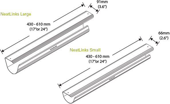 Technical drawing for Humanscale NeatLinks Cable Management