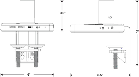 Technical Drawing for Humanscale M/Power USB Type A and Type C Charging Station