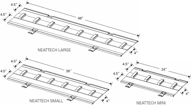 Technical Drawing for Humanscale NEATTECH Innovative Cable Management