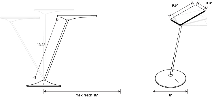 Technical Drawing for Humanscale Horizon 2.0 LED Task Light