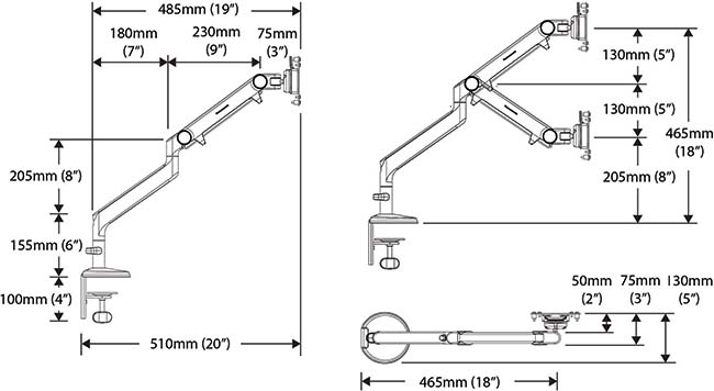 Technical drawing for Humanscale M2 Monitor Arm Desk or Wall Mount