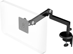 Humanscale M2 Arm with Two Piece Clamp Mount with Base, Fixed Straight Link/Dynamic Link and Black