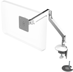 Humanscale M2 Arm with Dual Mount Clamp and Blot Through, Fixed Angled Link/Dynamic Link and White