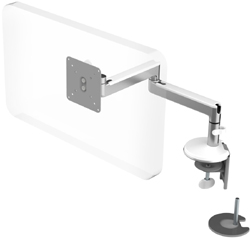 Humanscale M2 Arm with Dual Mount Clamp and Blot Through, Fixed Straight Link/Fixed Straight Link and White