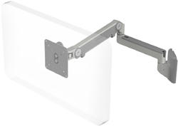 Humanscale M2 Arm with Universal Slatwall Mount, Fixed Straight Link/Dynamic Link and Silver