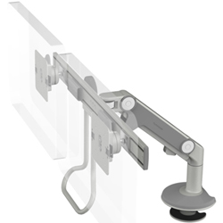Humanscale M8 Dual Arm with Bolt Through Mount with Base, Dynamic Link only, End Style: Crossbar with Handle and Silver