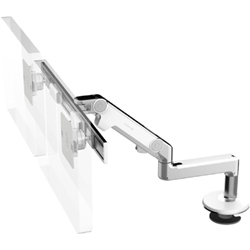 Humanscale M8 Dual Arm with Bolt Through Mount with Base, Fixed Straight Link/Dynamic Link and White