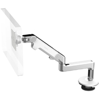 Humanscale M8 Arm with Bolt Through Mount with Base, Fixed Straight Link/Dynamic Link and White