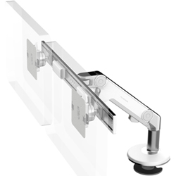Humanscale M8 Dual Arm with Bolt Through Mount with Base, Dynamic Link only and White