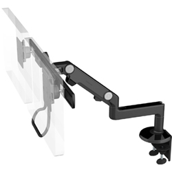 Humanscale M8 Dual Arm with Two Piece Clamp Mount with Base, Fixed Straight Link/Dynamic Link, End Style: Crossbar with Handle and Black Color
