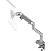 Humanscale M8 Arm with Two Piece Clamp Mount with Base, Fixed Angled Link/Dynamic Link and Silver