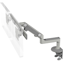 Humanscale M8 Dual Arm with Two Piece Clamp Mount with Base, Fixed Straight Link/Dynamic Link and Silver