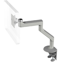 Humanscale M8 Arm with Two Piece Clamp Mount with Base, Fixed Angled Link/Fixed Straight Link and Silver