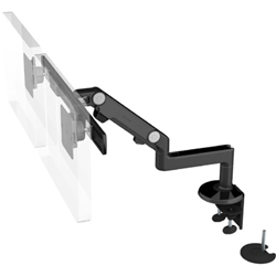 Humanscale M8 Dual Arm with Dual Mount Clamp and Bolt Through, Fixed Straight Link/Dynamic Link and Black
