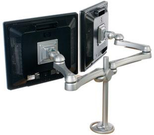 ISE MA2000 Flat Panel Double LED Monitor Arm Silver