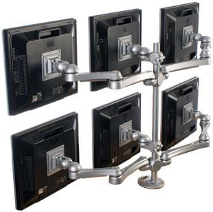 ISE MA-6-G - Six Monitors Grommet Mount with Two Joint Arms and Four Long Arms