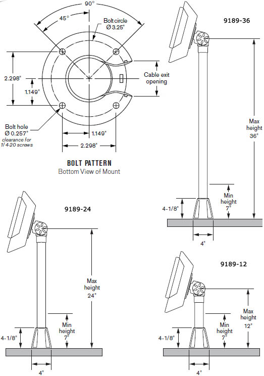 Technical Drawing for Innovative 9189 Series Adjustable POS Through Counter Pole Mount