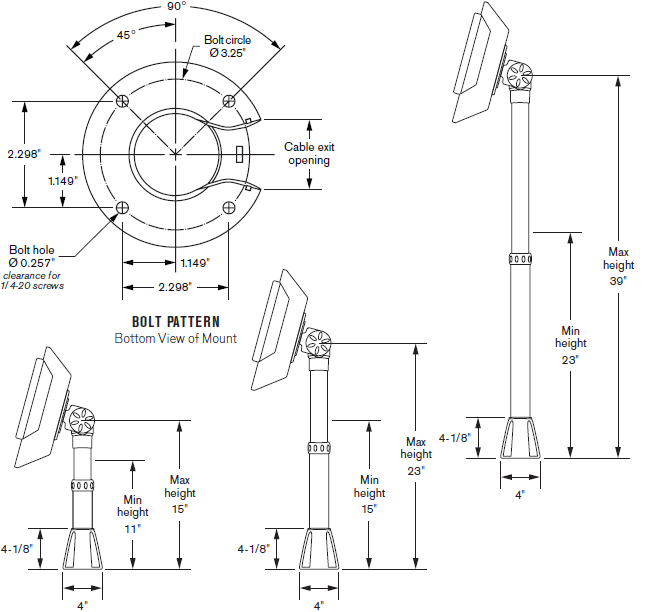 Technical Drawing for Innovative 9183 Series Adjustable Point of Sale Countertop Mount