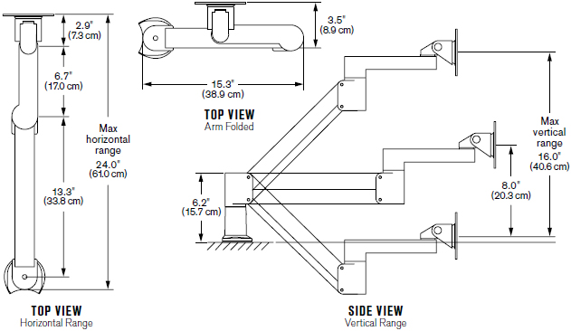 Technical drawing for Innovative 7Flex-104i Monitor Arm