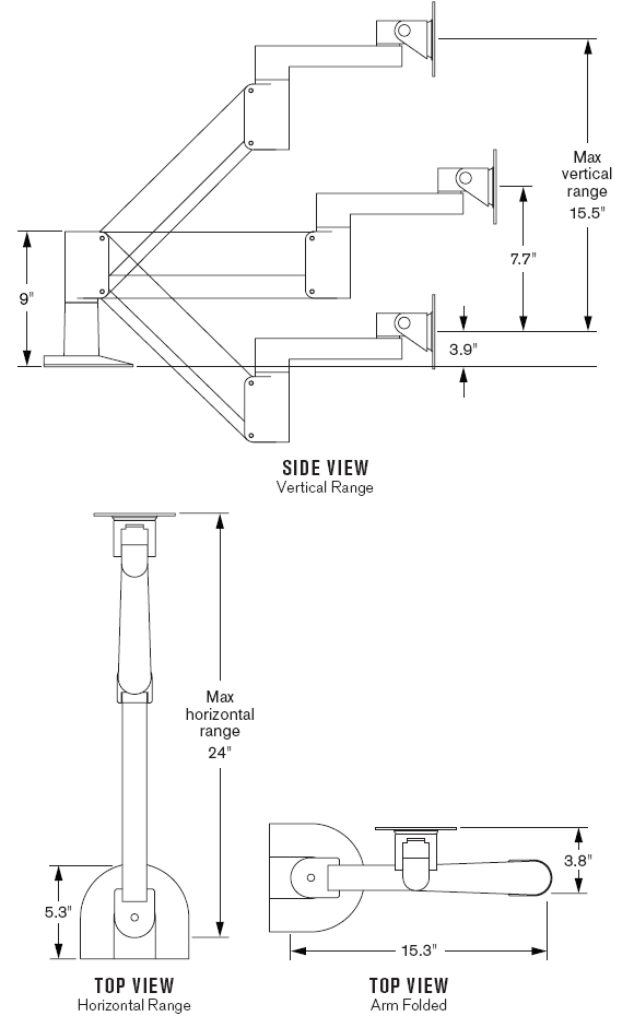 Technical Drawing for Innovative 9105-FM Heavy Duty Desk Mount LCD Arm