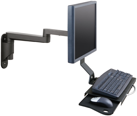 Innovative 9300-HD-DE Articulating Data Entry Wall Mount Arm with Flip Up Keyboard Tray
