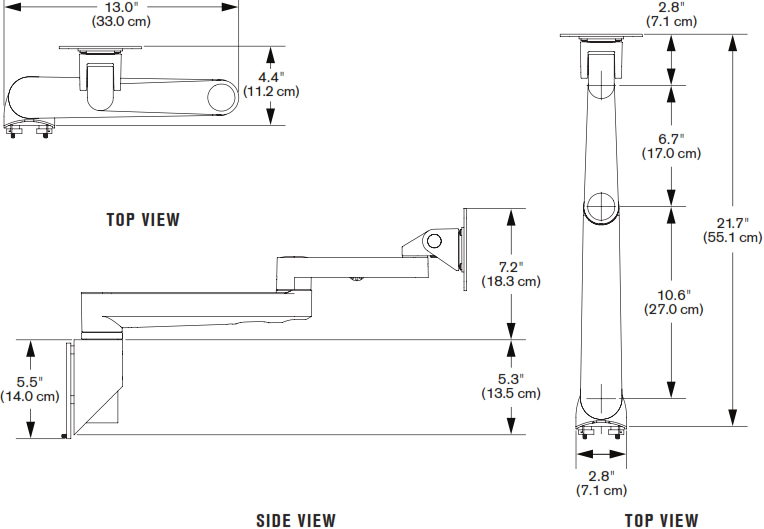 Technical Drawing for Innovative 9301-HD Articulating Track Mount Arm with Spring Tilter