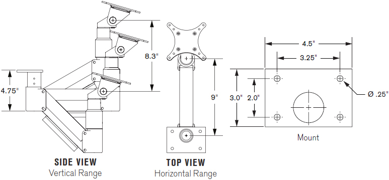 Technical Drawing for Innovative 3520 Under Cabinet or Under Table Monitor Mount Arm